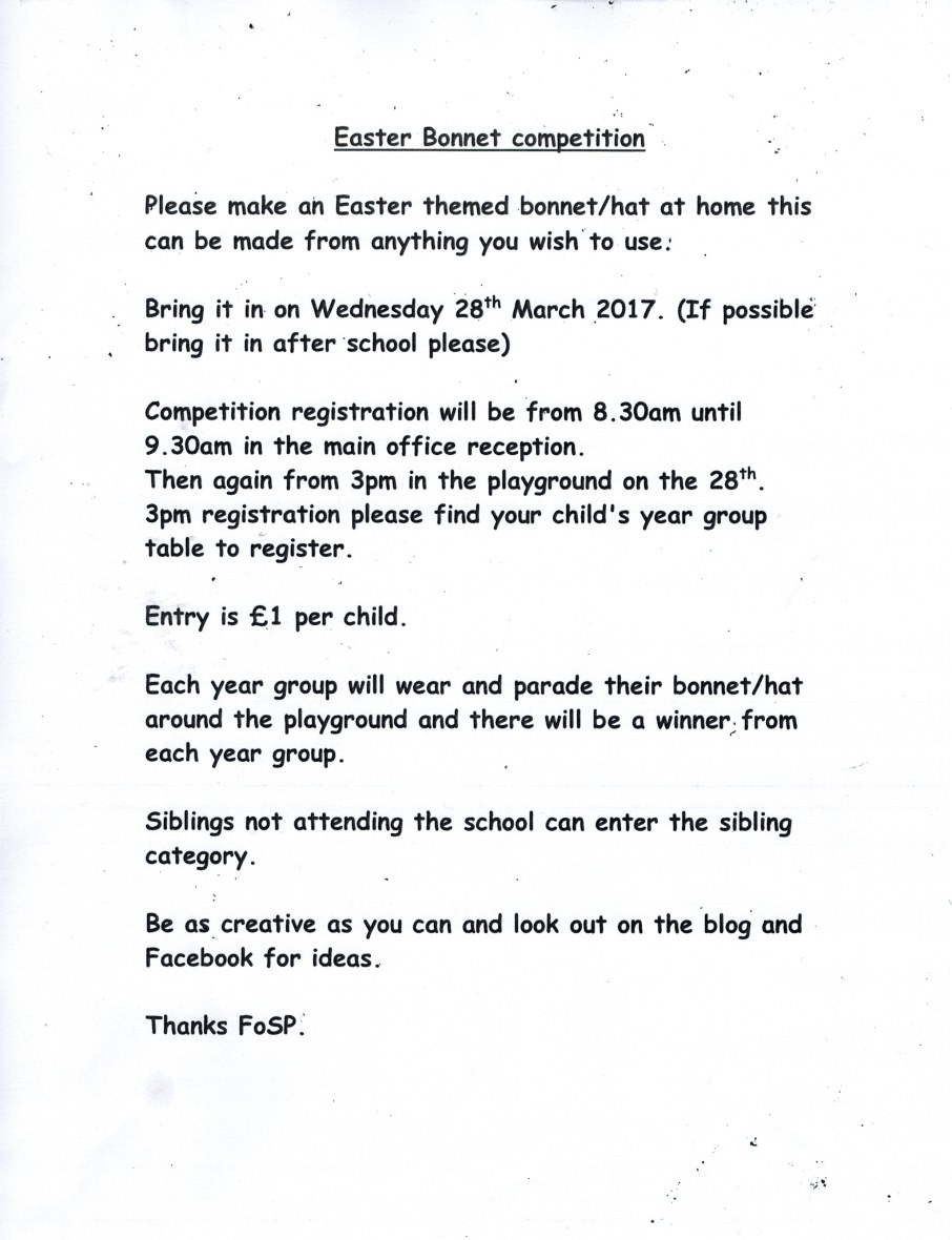 East Bonnet and Hat Parade Rules