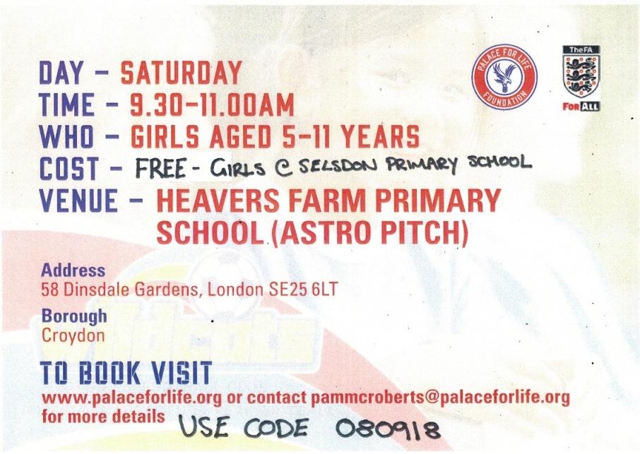 girls football booking details